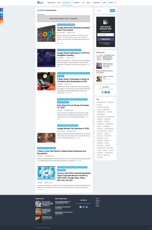 Entireweb Articles – Before Posts in Category Banner